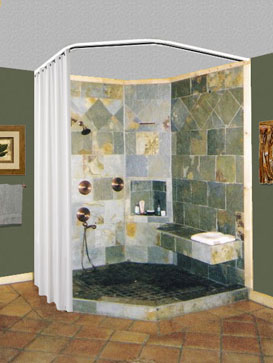 Curtains Ideas ceiling track shower curtain : Shower Rods: Neo-Angle Ceiling Shower Curtain Rod